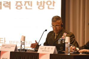 Lt. Gen. Lewis A. Craparotta, commander of the US Marine Forces Pacific, at an international symposium for the development of the South Korean Marine Corps to mark the Marine Corps' 70th anniversary at a convention hall, on April 2, 2019.