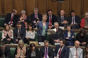 """Labour MP Yvette Cooper speaking during a debate on the second reading of the EU withdrawal Bill in Parliament on Wednesday. Twenty-five lawmakers in the Labour Party yesterday urged their leader Jeremy Corbyn to go the """"extra step"""" if there is a cha"""