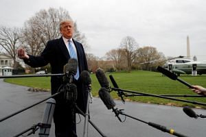 US President Donald Trump talks to reporters as he departs for the US-Mexico border from the White House in Washington, US, on April 5, 2019.