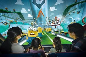 Despicable Me Minion Mayhem taking riders on a 3D journey through super-villain Gru's laboratory as he attempts to turn humans into Minions.