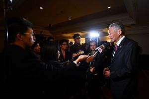 Prime Minister Lee Hsien Loong speaking to Singapore media to wrap up his visit to Putrajaya, Malaysia, for the annual Leaders' Retreat, on April 9, 2019.
