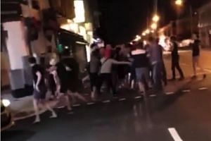 The brawl reportedly occurred at a pedestrian crossing near where Lorong 27A and Lorong 26 turn into Geylang Road.