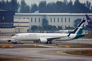A SilkAir Boeing 737 Max 8 at Changi Airport on March 12, 2019.