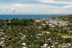The view over Honiara and Iron Bottom Sound in Honiara, Solomon Islands. The Solomons, an archipelago of 630,000 people north-east of Australia grappling with poverty, corruption and occasional ethnic strife, is being hit by the full force of a risin