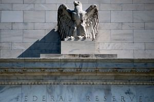 A view of the Federal Reserve building is seen in Washington, DC.