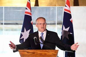 PM Scott Morrison delivering a speech in Brisbane on April 8, 2019.