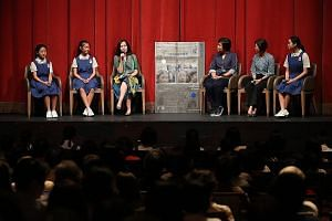 (From left) Student actresses Wang Ziyi and Hayley Foong; Lianhe Zaobao senior correspondent and moderator Chow Yian Ping; director Eva Tang; former principal Tan Wai Lan; and student actress Jerica Wong talking about the film during a panel discussio