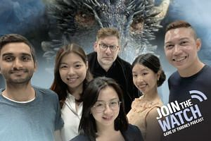 Join The Watch: Podcast host Jonathan Roberts (back row, centre) is joined by various emissaries from the different kingdoms of The Straits Times - Olivia Ho (second from right), Melissa Heng (second from left), Jan Lee (front row, centre), Hairianto