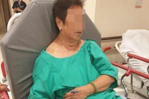 The 65-year-old woman had to be taken to Ng Teng Fong General Hospital after the accident.