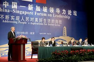 Deputy Prime Minister Teo Chee Hean delivering the opening address at the 7th Singapore-China Forum on Leadership in Yan'an on April 14, 2019. Also on the panel were (from left) Minister for Culture, Community and Youth Grace Fu, Minister for Trade a