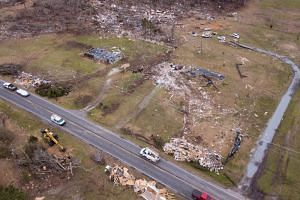 Damage is seen from a drone in the aftermath of an EF4 tornado in Beauregard, Alabama, on March 11, 2019.