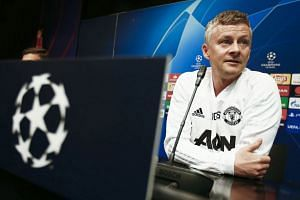 Solskjaer attends a press conference in Barcelona ahead of the match.