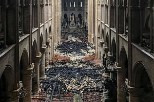A view of the interior of Notre-Dame Cathedral in Paris in the aftermath of the fire.