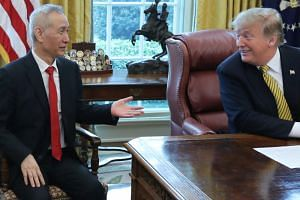 US President Donald Trump meets with China's Vice Premier Liu He in the Oval Office of the White House in Washington, US, on April 4, 2019.