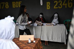 A horror-themed polling station in South Jakarta.