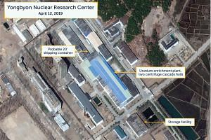 A view of what researchers describe as a probably 20 ft (6m) shipping container near the uranium enrichment plant at the Yongbyon Nuclear Research Center in North Pyongan Province, North Korea.