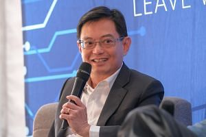 Finance Minister Heng Swee Keat speaking at the two-day Bridge Forum CEO Summit in San Francisco, on April 17.