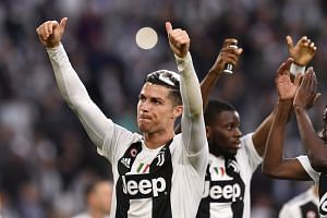 Ronaldo reacts after the Italian Serie A soccer match between Juventus and Fiorentina.