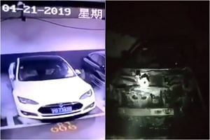 The video showed a parked Tesla S starting to emit smoke from its bonnet before exploding and bursting into flames, damaging surrounding cars.