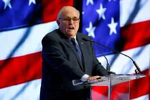 Former New York Mayor Rudy Giuliani speaks at the 2018 Iran Freedom Convention in Washington, US, on May 5, 2018.
