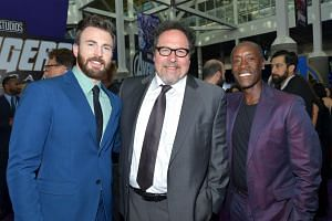 (From left) Actors Chris Evans, Jon Favreau and Don Cheadle at the world premiere of Marvel's Avengers: Endgame at the Los Angeles Convention Centre on April 22, 2019.