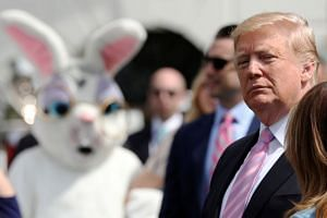 Trump attends the 2019 White House Easter Egg Roll in Washington on April 22, 2019.