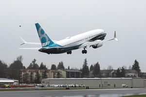 A Boeing 737 MAX 8 taking off during a flight test in Renton, Washington, US.