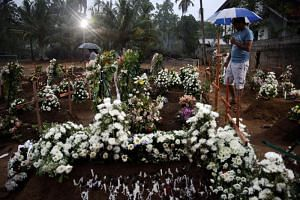 The site of a mass burial in Negombo, for victims of a string of suicide bomb attacks across Sri Lanka on Easter Sunday. Sri Lankan Defence Secretary Hemasiri Fernando resigned on April 25, 2019, taking responsibility for the attacks.