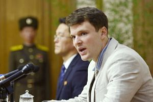 Otto Warmbier attending a news conference in Pyongyang, North Korea, in 2016.