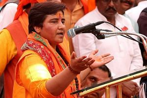 Sadhvi Pragya Thakur giving an address in Bhopal, Madhya Pradesh state, on Tuesday. Those who follow politics in the Indian state say the ruling Bharatiya Janata Party's choice of Ms Thakur in Bhopal has not gone down well with some in the local part