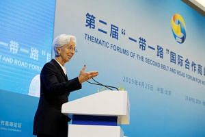 International Monetary Fund chief Christine Lagarde at a thematic forum of the second Belt and Road Forum for international cooperation in Beijing on April 25, 2019.