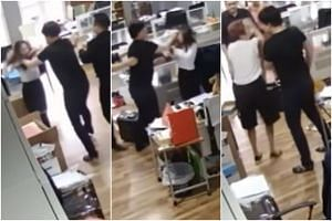 Videos posted on YouTube show Mr Samuel Seow beating and chasing after a female member of his staff.