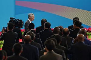 Prime Minister Lee Hsien Loong arriving at the high-level meeting session during the 2nd Belt and Road Forum at the China National Convention Centre on April 26, 2019.