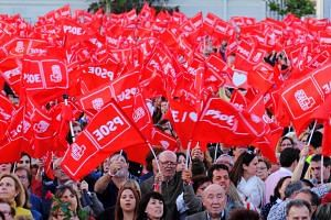 Supporters of Spain's Socialist Workers' Party attend an electoral campaign closing rally in Valencia, Spain, on April 26, 2019.