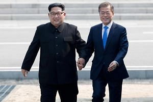 Mr Kim Jong Un and President Moon Jae-in held their first meeting on April 27 last year in the Demilitarised Zone dividing the peninsula amid a rapid diplomatic thaw.