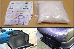 Cash and Ice were seized from the front passenger seat of a car during a Central Narcotics Bureau operation on April 22, 2019.