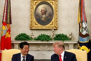 Trump and Abe meet in the Oval Office of the White House on April 26, 2019.