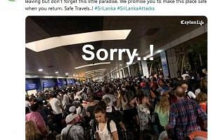 Twitter user Chamal Anjana Perera's message to tourists who thronged Sri Lanka's airport for the first flight out after the attacks on Easter Sunday. He is one of many people sharing positive messages online despite the social media lockdown.