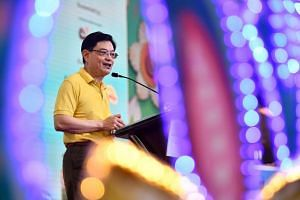Finance Minister Heng Swee Keat speaking to residents during an event at Our Tampines Hub, on April 28, 2019.