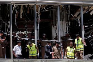 Officials inspecting the Shangri-La hotel in Colombo, Sri Lanka, following the Easter Day attacks, on April 21, 2019.