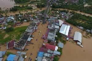 Submerged buildings are seen in Bengkulu on Sumatra, after heavy rain caused flooding in the area, on April 27, 2019.