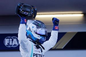 Mercedes' Valtteri Bottas celebrating after winning the Azerbaijan Grand Prix on April 28, 2019.
