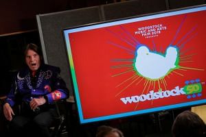 Singer John Fogerty speaks during the announcement event for the lineup for the Woodstock 50th Anniversary concert in New York, US, on March 19, 2019.