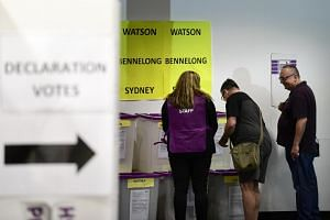 Voters at a pre-polling booth at Central Station, Sydney, Australia, on April 29, 2019.