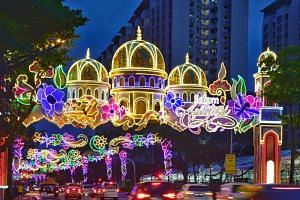 A decoration along Sims Avenue, part of the annual Hari Raya light-up, which starts ahead of the Muslim fasting month of Ramadan.