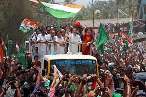 Indian political leader Priyanka Gandhi Vadra, with her husband Robert Vadra (on her right) during Mr Rahul Gandhi's nomination for the general elections in Amethi, Uttar Pradesh, last month. Mr Rahul Gandhi, president of India's main opposition Cong
