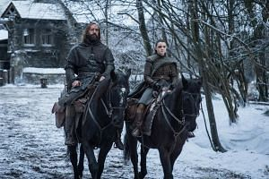 Rory McCann (left) and Maisie Williams, who play Sandor Clegane and Arya Stark, in a still from season 8 of Game of Thrones.