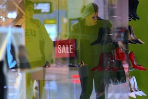 Department store sales were also weak while demand for food and eating out stayed upbeat.
