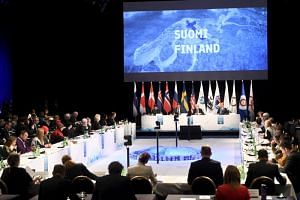 Officials from various countries attending the Arctic Council Ministerial Meeting in Rovaniemi, Finland, on May 7, 2019.