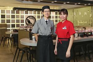 Kitchen worker Yeo Seck Eng (left), 56, and service worker Jessie Leu, 33, work at the Sushi Express outlet at Sun Plaza. Both said it takes understanding and respect for younger and older employees to get along with each another, and the simple act